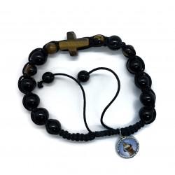 Armband koord, zwarte kralen